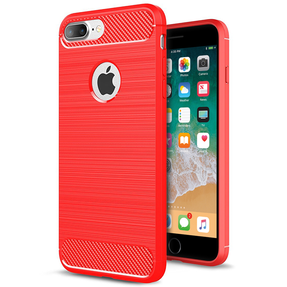 Flexi Carbon Fibre Brushed Case - Apple iPhone 8 Plus / 7 Plus - Red